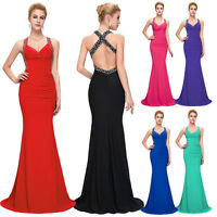 Backless Long Maxi Cocktail Dresses Evening Prom Party Dress Size 16 Bridesmaid