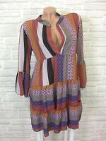 Hippie Blogger Hängerchen Kleid Tunika Volant Print BOHO 36 38 40 42 NEU K423
