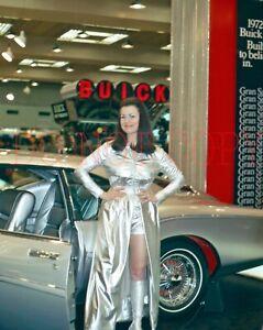 1972 35mm slide Car Show Girl in silver dress Buick Silver Arrow III concept car