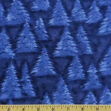 FLANNEL Fabric for sewing EVERGREEN TREES SNOW SCENE winter blue BLUE SPRUCE