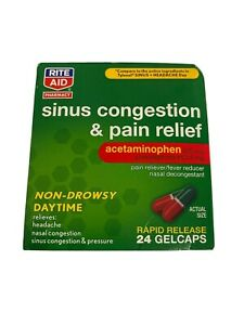 Rite Aid Sinus Cognestion& Pain Relief Acetaminophen Fever Reducer Daytime 24 Ct