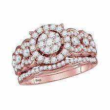 14kt Rose Gold Round Brown Diamond Cluster Bridal Wedding Engagement Ring Set