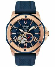 Bulova 98A227 Marine Star Silicone Strap Watch 45mm Men's Automatic Watch - Two-Tone/Blue