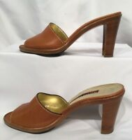 WALTER STEIGER 7.5 Ladies Brown Leather Slip On Open Toe Hig Heel made in  Italy