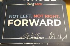Andrew Yang and Wife Evelyn Yang Dual Signed Official Campaign Placard 2020