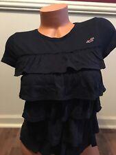 NWOT Women's Hollister Ruffle Layer Shirt Size XS Navy Blue