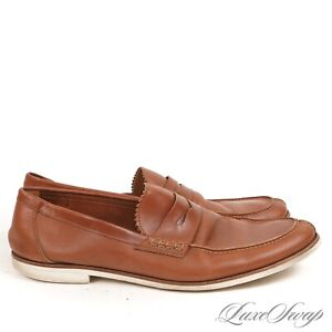 Sutor Mantellassi Made in Italy Whiskey Unlined Split Toe Penny Deck Loafers 10