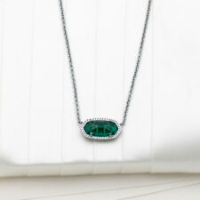 Authentic Kendra Scott Elisa Silver Pendant Necklace In Emerald Cats Eye NEW