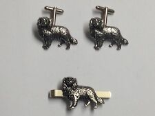 King Charles Spaniel d7 On A Pair of Cufflinks With A Tie Slide Set pewter