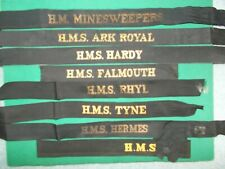 More details for genuine royal navy cap tally hm minesweepers + 7 seaman hat band ribbons naval