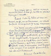 peintre Armand Nakache lettre autographe signée Humour Montmartrois Celso poésie