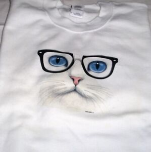 """Cat Face - Blue Eyes"" Nerd Glasses - Gildan (White) Fleece Crew Neck Sweatshirt"