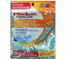 Plackers Twin-Line 150 Dental Flossers Floss Picks Oral Care Reclosable Bag Mint