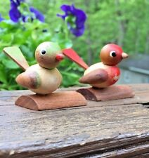 Antique German Wooden Wood Hummel BIRDS ON PERCH Handcarved Figurine Statue SET