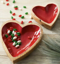 Demdaco Wooden Nested Heart Dishes (Set Of 2) Jewelry, Knick Knacks, Candy