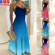 US Women Gradient Summer Long Dress Ladies Sexy Sleeveless Maxi Strappy Sundress