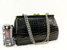 Genuine Alligator Skin Clutch 18K Gold Plated Kisslock Black Italian Made Purse