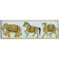 "Painting 2"" X 6"" elephant horse camel handmade india miniature art work resin"