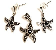 ONYX STARFISH EARRINGS Marcasite .925 STERLING SILVER (Free Matching Pendant!)