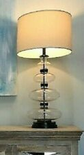 Pottery Barn Estelle Table Lamp Base Bronze 36H Stacked Clear Glass