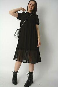 New Womens Black Sheer Dobby +Vest Underlay Frill Hem Midi Smock Dress Size 6-16