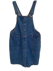 Red Herring Size 14 Blue Denim Bib & Brace Pinifore Dress -(C92)
