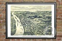 Old Map of St. Paul, MN from 1890 - Vintage Minnesota Art, Historic Decor