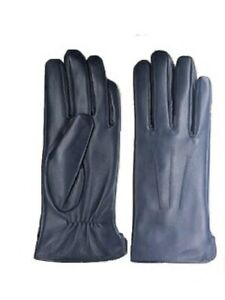 Womens Genuine Nappa Sheepskin Leather Lined Gloves Blue