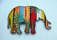 COLORFUL ASIAN ELEPHANT 7cm Embroidered Iron Sew On Cloth Patch Badge APPLIQUE