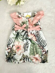Size 3-6 months Baby Girls Romper New Cute Pink Hibiscus Palm Print Baby Romper