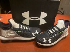 Under Armour Men's Harper 4 Low Metal Baseball Cleats White Navy Blue Size 11.5