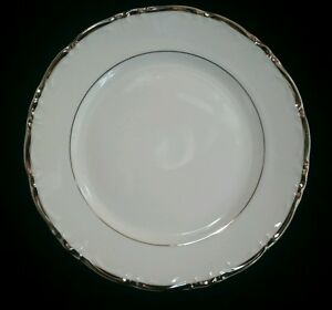 Bread and Butter Plate In Empress By Fashion Royale White Silver Trim
