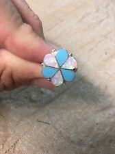 Native American Womens Zuni Turquoise /Opal Large Flower Ring Sz 7.5 Navajo Nice