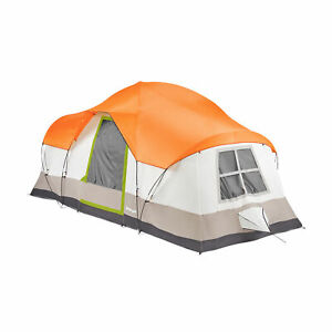 Tahoe Gear Olympia 10 Person 3 Season Outdoor Camping Tent, Orange and Green