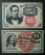 1863 15 Cents and 1874 10 Cents Fractional Currency Notes