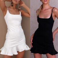 Women's Boho Chiffon Summer Party Evening Beach Short Mini Dress Sundress