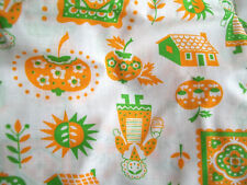 60's Fabric Vintage Orange  White Houses Pumpkins Quilts Mid Century Country