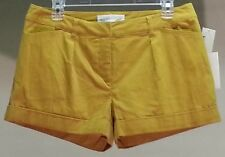 NWT $69 Kensie Women's Yellow Solid Pleated Corduroy Shorts Size: 8
