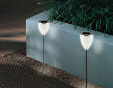 SOLAR POWERED AURA POST LED SPOT GARDEN LIGHTS TWIN