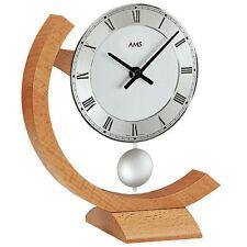 AMS Pendule Quartz Horloge De Table Montre Massif Hêtre Neuf