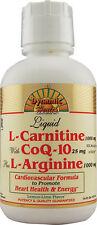 Dynamic Health Liquid L-Carnitine w/CoQ-10 & L-Arginine 473ml Pack of 4 Bottles