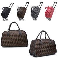 Ladies Geometric Print Holdall Trolley Weekend Bag Hand Luggage Travel Handbag