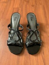 Fioni Women's Black Patent Kitten Heel Size 5 Sandals Slip On