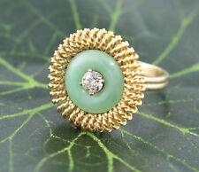 14k Jade Jadeite Diamond Ring .25 Carats Round Diamond Yellow Gold Size 7.25