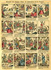 """""""HISTOIRE DE JEANNE D'ARC"""" Imagerie d'Epinal n° 762 originale entoilée"""