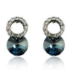 14k White Gold GF Blue Austrian Swarovski Crystals Stud Earrings