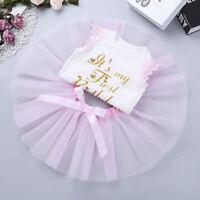 Baby Girls' 1st Birthday Tutu Outfit Party Dress Set Romper Bow Skirt Cake Smash