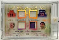 Michael Jordan/Wilt Chamberlain/Larry Bird/Magic Johnson Leaf Pearl Patch #d 1/1