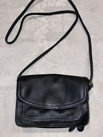Fossil Vintage Black Leather Flap Crossbody Bag Organizer