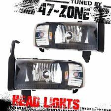 Stealth For 94-02 Dodge Ram 1500 2500 3500 Black Housing Clear Lens Headlight
